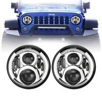7 inch Lada Niva Led Headlight and DRL Halo Angel Eyes & Turn Signal 97 18 Jeep Wrangler JK TJ & Wrangler Unlimited