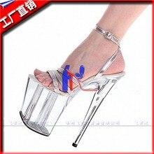 Großhandel frauen schuhe silber knöchelband hochzeit schuhe plattform 20 cm high heels sandalen 8 zoll kleid schuhe kristall party schuhe