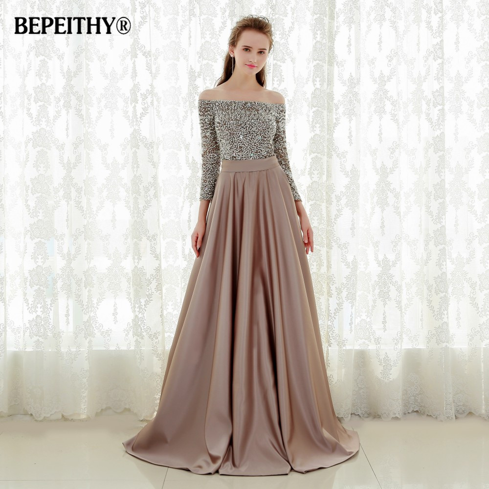 Robe de soiree sexy fora do ombro vestido de noite três quartos mangas beadings longos vestidos de baile 2019 vestido longo