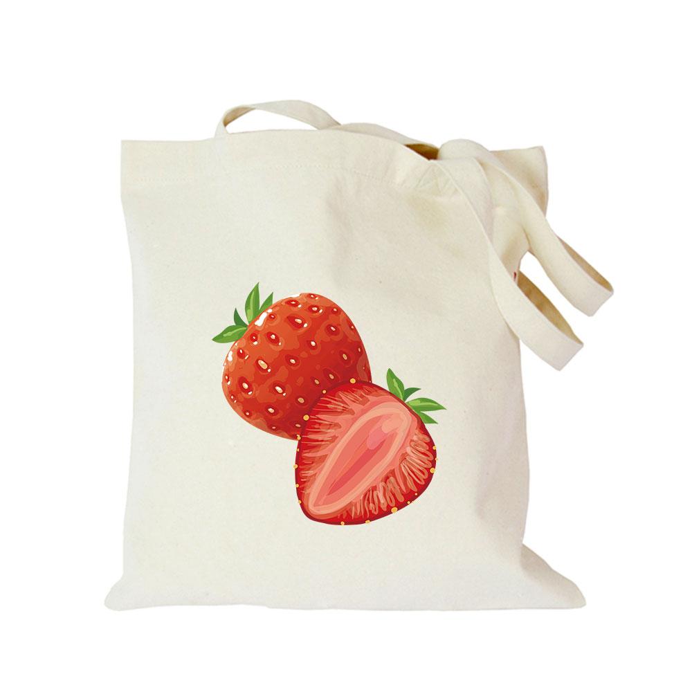 Origina kawaii canvas strawberry custom tote bag customize eco diy logo shopping bag with logo Dachshund Shepherd Dog Poodle (2)