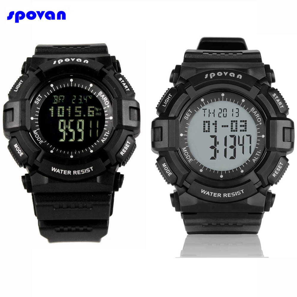 SPOVAN Digital Sport Watch Waterproof Barometer Altimeter Thermometer Stopwatch Fishing Clock Men Reloj Hombre Relogio Masculino