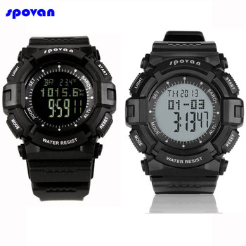 SPOVAN Digital Sport Watch Waterproof Barometer Altimeter Thermometer Stopwatch Fishing Clock Men Reloj Hombre Relogio Masculino sunroad fishing barometer watch fr720a men altimeter thermometer weather forecast 50m waterproof stopwatch smart watch black