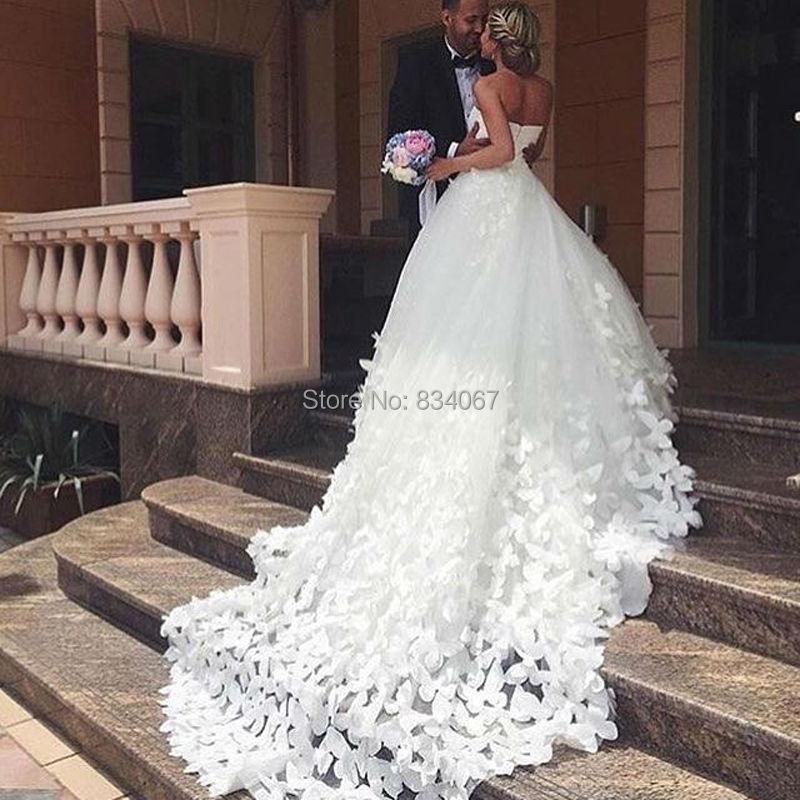 Handmade butterfly ball gowns wedding dress 2017 for Ball wedding dresses 2017