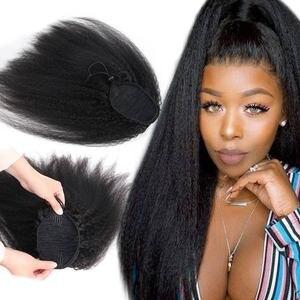Кудрявые прямые бразильские Remy человеческие волосы на шнурке хвост яки зажим Ins длинные вьющиеся конский хвост человеческие волосы конский...
