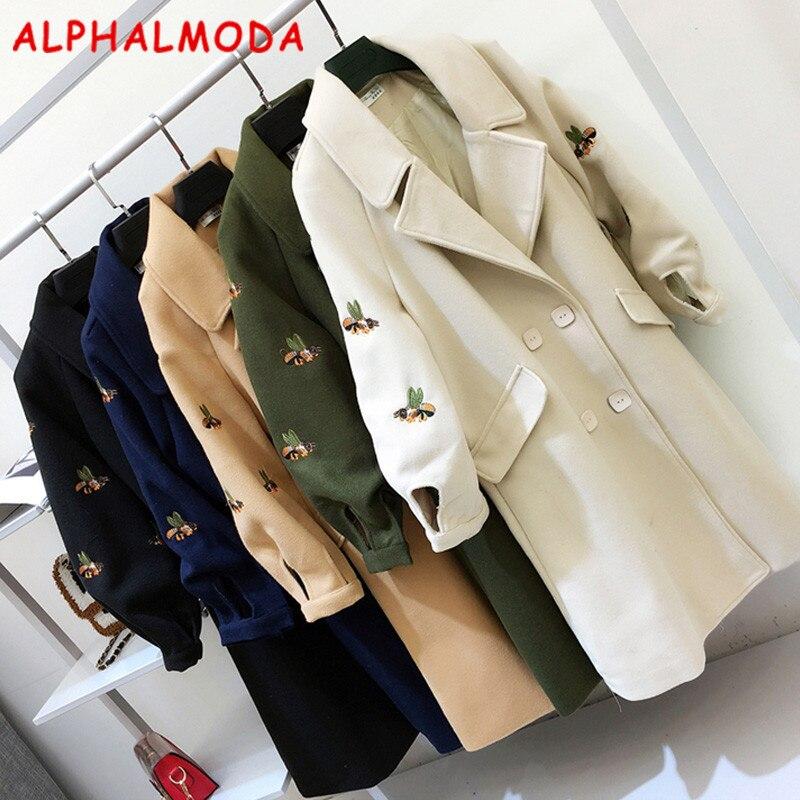 ALPHALMODA 2017 Winter Ladies Elegant Bees Woolen Coat Lapel Collar Lantern Sleeve Embroidery Slim Windbreaker Woolen Jacket