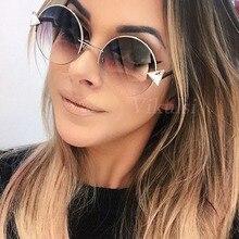 Brand Designer Oversized Round Sunglasses Women 2017 Oculos Shade Frame Retro Ar