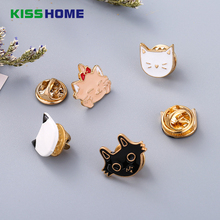 Cartoon Enamel Pins Couple Brooch Accessories Boutonniere Black White Cat Oil Brooches Mini Badge Gift for Girl Women Lovers mini cat couple figure toy with suction cups white black pair