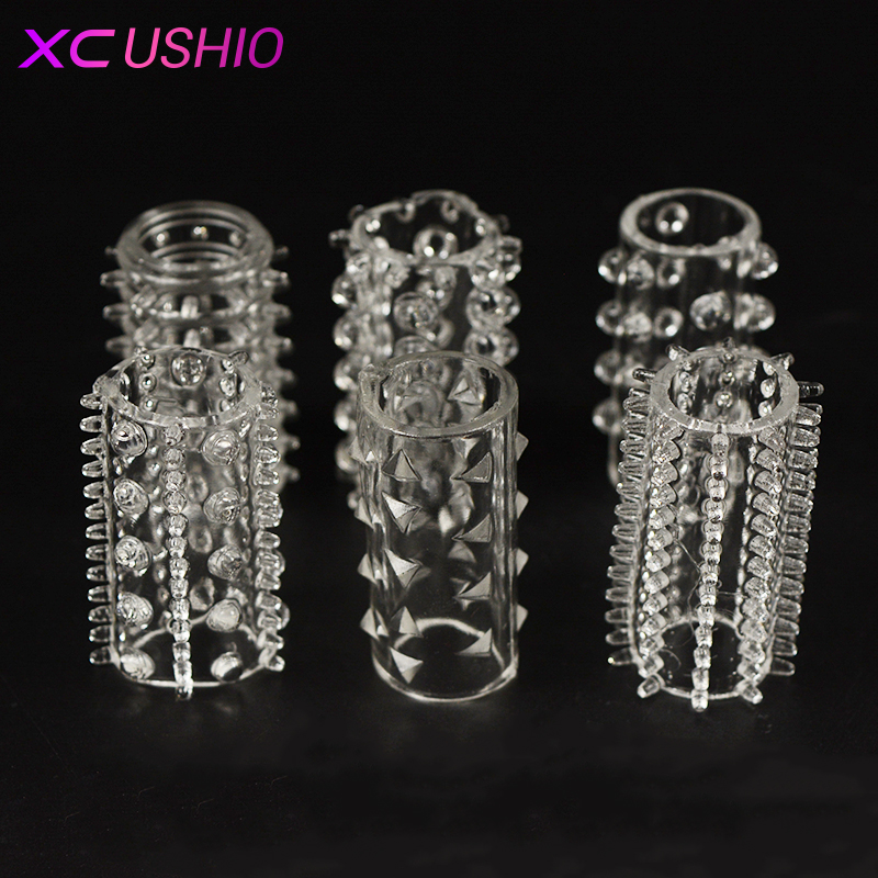 6pc/set Male Crystal Silicone Lock Sperm Delay Ejaculation Durable Penis Sleeve Cock Rings Adult Sex Products Sex Toy For Men