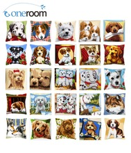 Cross Stitch Cushion Cover YORKSHIRE WITH BOW Pillow Case Acrylic Yarn Cross-Stitch Kits Pre-Printed Sofa Pillows