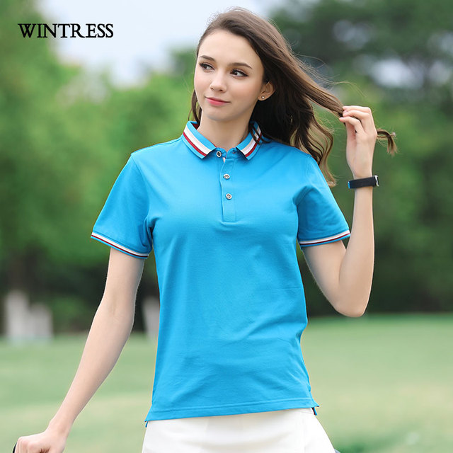 206254280da7 WINTRESS Summer Women Casual Polo Shirt Short Sleeve Turn-Down Collar  Striped Color Matching Top Outwear Can Custom Picture