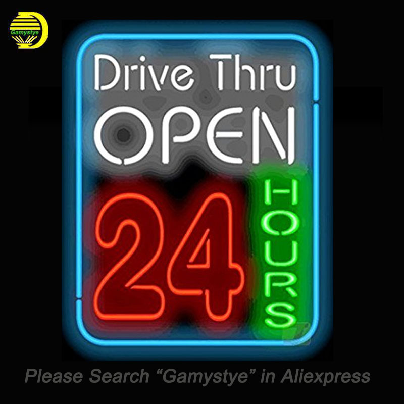 NEON SIGN For Drive Thru Open 24 Hours Neon Bulbs Sign HANDmade Custom decorative Busine ...