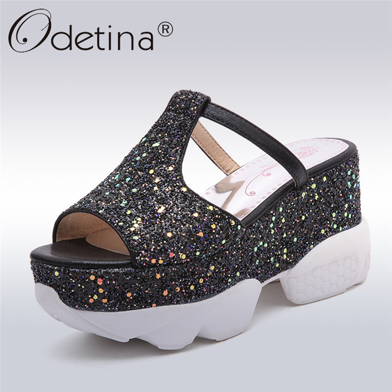 Odetina 2018 New Fashion Women Punps Mules Platform Wedges Peep Toe High Heel Leisure Bling Shoes Slip On Casual Big Size 31-43 elegant slip on wedges shoes women casual chunky heel summer red blue peep toe suede 2018 high heels mules platform sandals