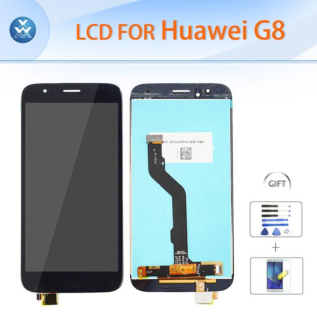 """Original lcd screen display toque assembléia digitador de vidro para huawei g8 lcd repair 5.5 """"ouro branco ferramentas de presente preta + filme"""