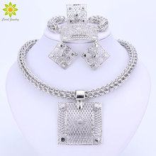 Fine African Beads Silver Plated Jewelry Sets Nigerian Wedding Accessories Bridal Collares Costume Square Necklace Earrings Set