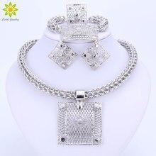 Güzel afrika boncuk gümüş kaplama takı setleri nijeryalı düğün aksesuarları gelin Collares kostüm kare kolye küpe seti