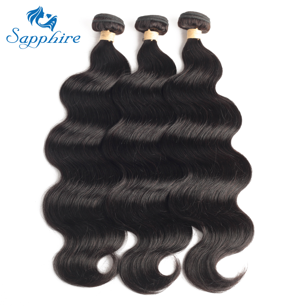 Sapphire Hair Peruvian Body Wave Human Hair Bundles 100% Remy Hair Weave Extension Natural Color Body Wave Hair 3/4 pcs  Bundles-in Hair Weaves from Hair Extensions & Wigs    1
