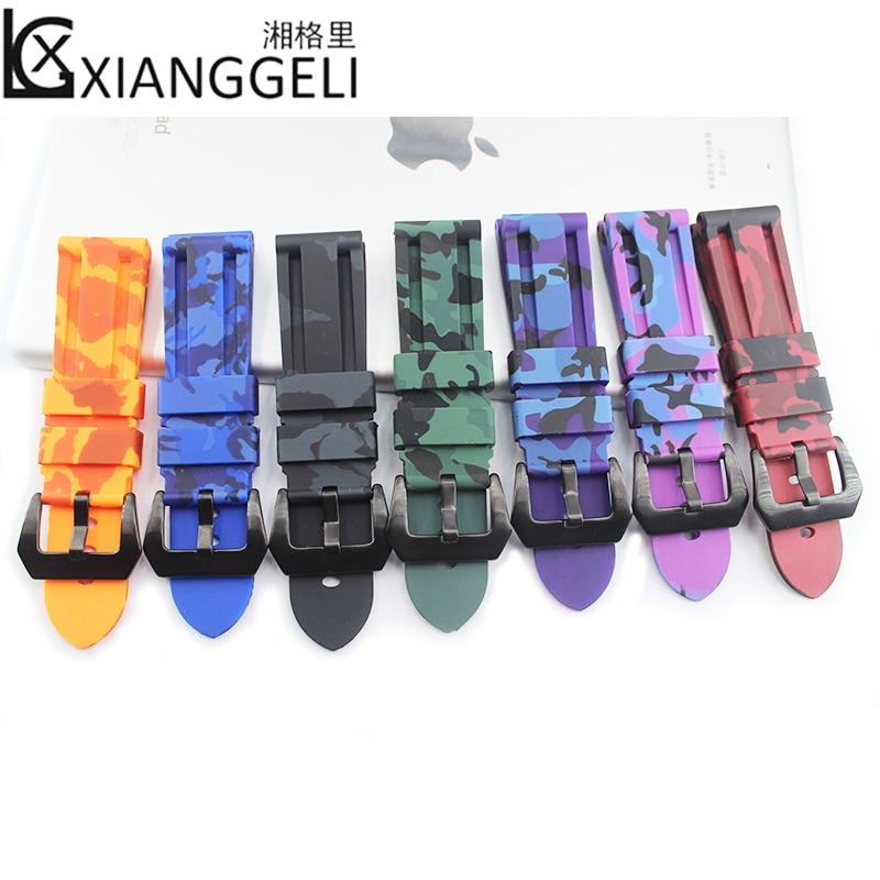 d6288747b6bd Montre accessoires pour Panerai camouflage bracelet en caoutchouc boucle  ardillon 24mm PA111 hommes de bande de montre