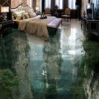 Beibehang Human Fairyland Peak Cliff Living Room Bathroom 3D Floor Custom Large Fresco Pvc Waterproof Thick