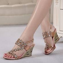 Sandals In Summer 2015 European Women's Sandals Shoes Slope With Diamond Crystal Peep Toe Heels
