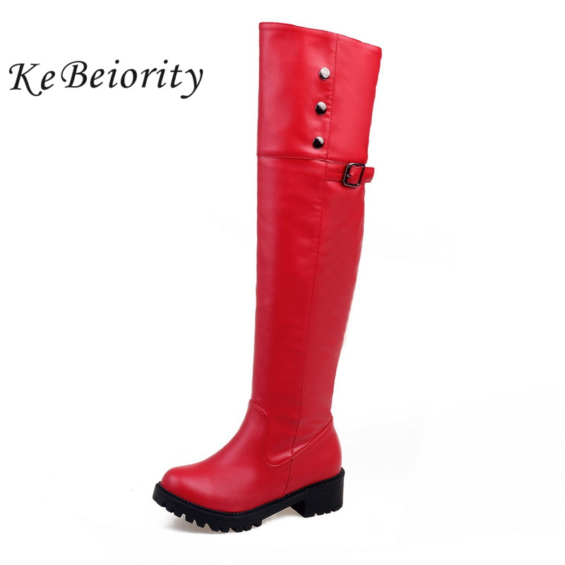 KEBEIORITY women thigh high boots square heel platform shoes women long boots over the knee heeled boots for women leather boots avvvxbw 2016 new brand long boots fashion elastic over the knee boots shoes woman square heel genuine leather thigh high boots
