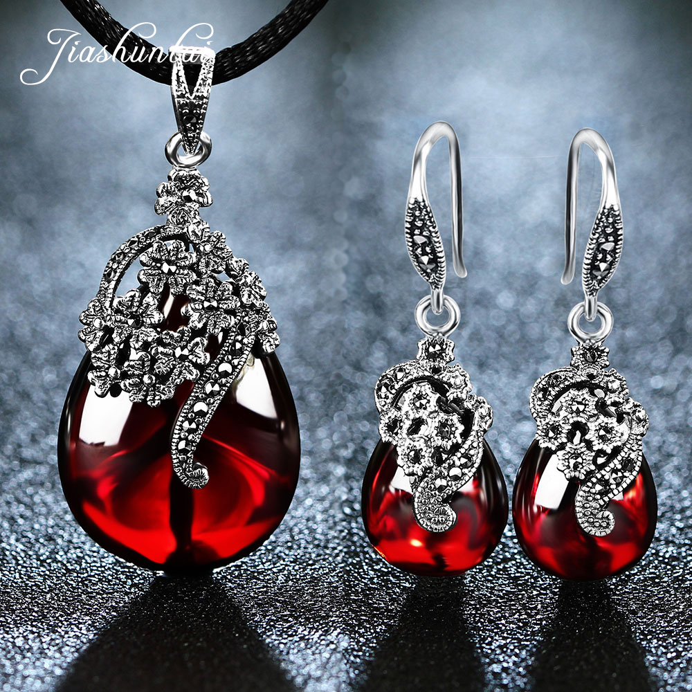 JIASHUNTAI Retro 100% 925 เงินสเตอร์ลิงจี้สร้อยคอ Drop Earrings สำหรับสตรี Vintage สร้อยคอหินเครื่องประดับชุด-ใน ชุดอัญมณี จาก อัญมณีและเครื่องประดับ บน AliExpress - 11.11_สิบเอ็ด สิบเอ็ดวันคนโสด 1