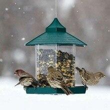 Зеленый кормушка для птиц пластиковый подвесной контейнер для еды для птиц открытый водонепроницаемый кормушка для птиц товары для домашних животных украшение сада