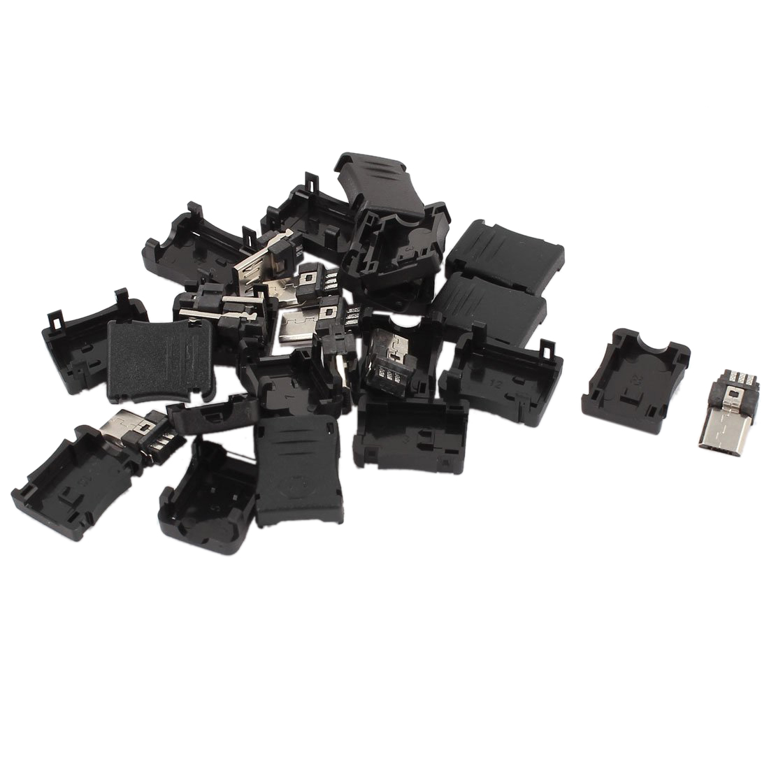 CNIM Hot 10PCS 5-Pin Micro USB Type B Male Plug Connector Plastic Cover 10pcs 5 pin male