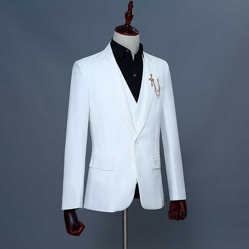 (ジャケット + パンツ + ベスト) 無地 3 ピースドレススーツ男性ワンボタンメンズブティックホワイトブレザーの結婚式歌手の衣装ジャケット