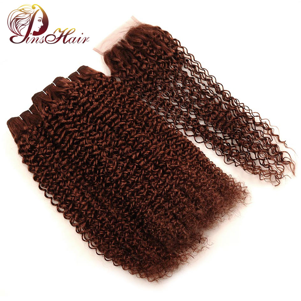Pinshair Peruvian Kinky Curly Human Hair Bundles With Closure Dark Brown Hair 3 Bundles With Closure Red Non Remy Hair No Tangle