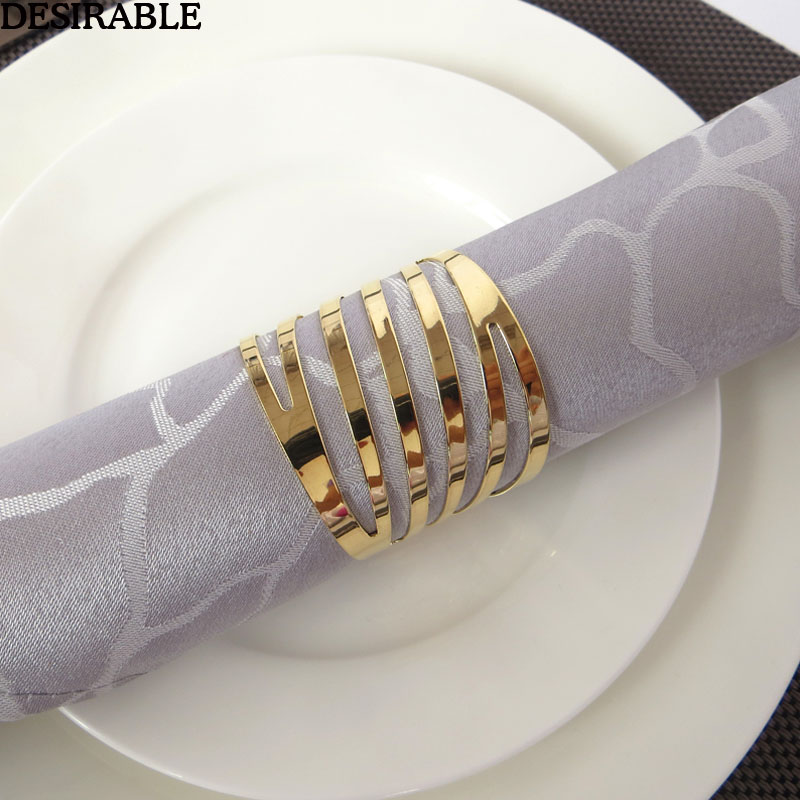 10Pcs/set  Metal Napkin Rings Hotel Banquet Dinner Table Decoration Supplies Party Tableware Serviette Holder Gold Napkin Buckle