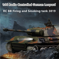 2.4G 1:16 Plastic Metal remote control rc Tank with BB Bullet Shoot and Somke Sound RC Battle Tank big size simulation tank toy