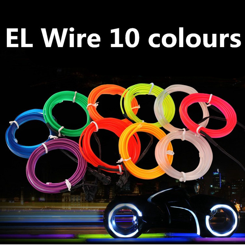 EL Wire With 6mm Sewing Edg 50/100/200/500M 2.3MM Flash Rope Tube Cable Flexible Neon Lamp Glow String Light Car Decoration jurus hot sale led 1m 2m 3meters 5m neon light car decor lamp flexible el wire rope tube waterproof strip with 12v inverter