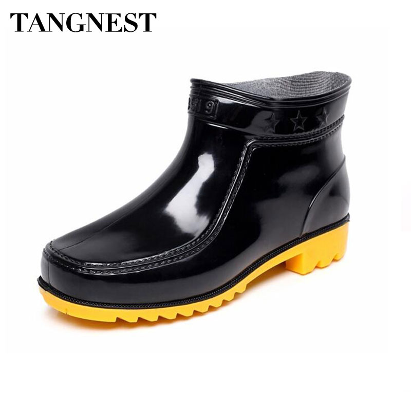 Tangnest Summer Mens Rubber Ankle Boots Black Slip-on Plain Men Rain Boots Waterproof Wedge Shoes Man Casual Work Shoes ...
