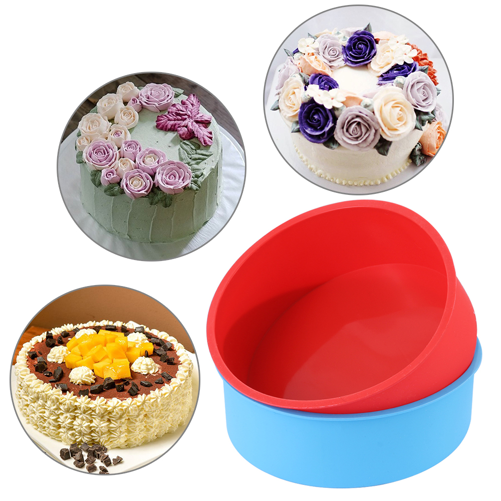 6inch Silicone Reusable and Non Stick Bakeware in Round Shape used for Cooking Confectionery Recipes with Decoration