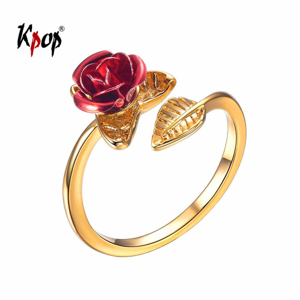 Kpop אדום עלה טבעת קיץ תכשיטי אהבת מתנות עבור בנות זהב צבע פלורה פרח מתכוונן להרחיב טבעת לנשים R6250