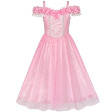 цена на Flower Girls Dress Pink Cold Shoulder Bridesmaid Wedding 2020 Summer Princess Party Dresses Girl Clothes Pageant Sundress