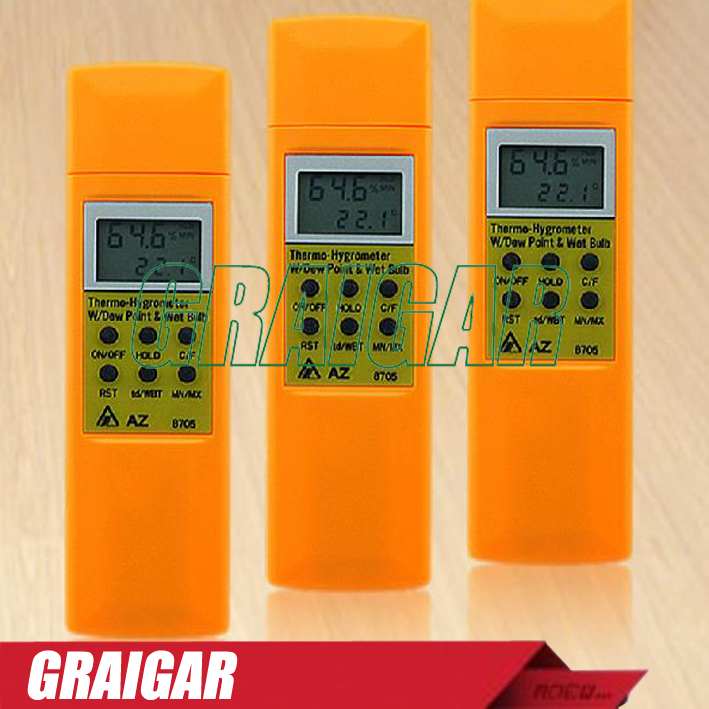 AZ8705 temperature and humidity meter handheld portable dew point temperature and humidity tester wet bulb ht 86 digital thermometer hygrometer wet bulb dew point temperature meter o0s0