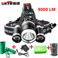 LED Headlamp Lamp Headlight Headlamp Head Torch Hunting Camping Hiking 9000lm 3x CREE T6 4 Rechargeable 18650 Battery + Charge