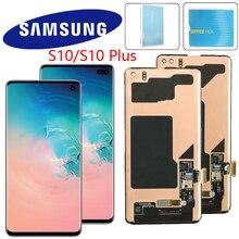 Original lcd com moldura para samsung galaxy s10e s10 display lcd g9730 s10 + mais lcd g9750 digitador da tela de toque