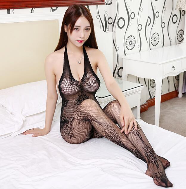 Latest Women Sexy Pantyhose Flower Halter Sleepwear Nightwear Mesh Underwear Babydoll Female Black Pajama Home Wear Sleep