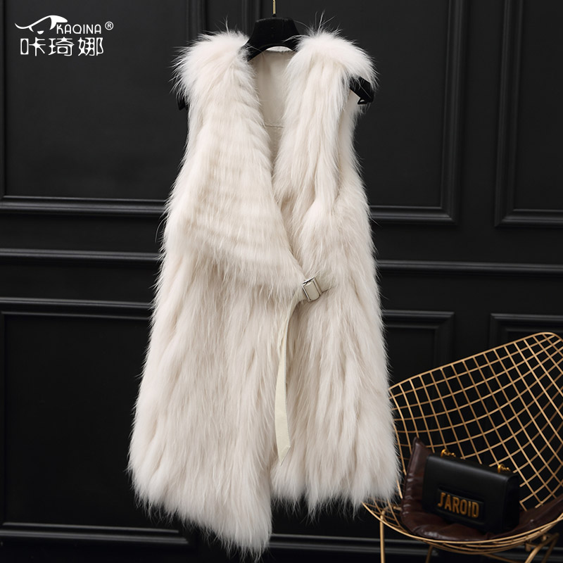 Real Raccoon Dog Fur Vest Double-sided Wear Fur Coat Women Clothes 2018 Autumn Winter Elegant Vintage Coats Abrigo Mujer ZL486