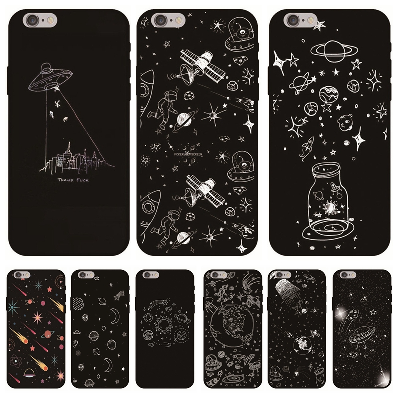 Soft Tpu Coque For Iphone 8plus Apple Case Fashion Cartoon Girls Moon Star Funda For Iphone 7 6s X 5 5s Se Black Back Cover Pretty And Colorful Phone Bags & Cases