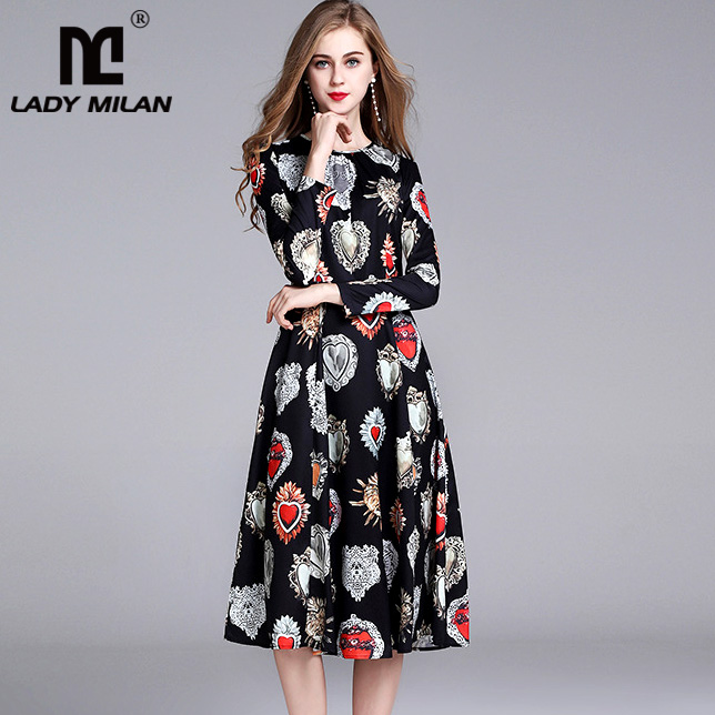 New Arrival Womens O Neck Long Sleeves Floral Printed Casual High Street Fashion Knee Length Dresses