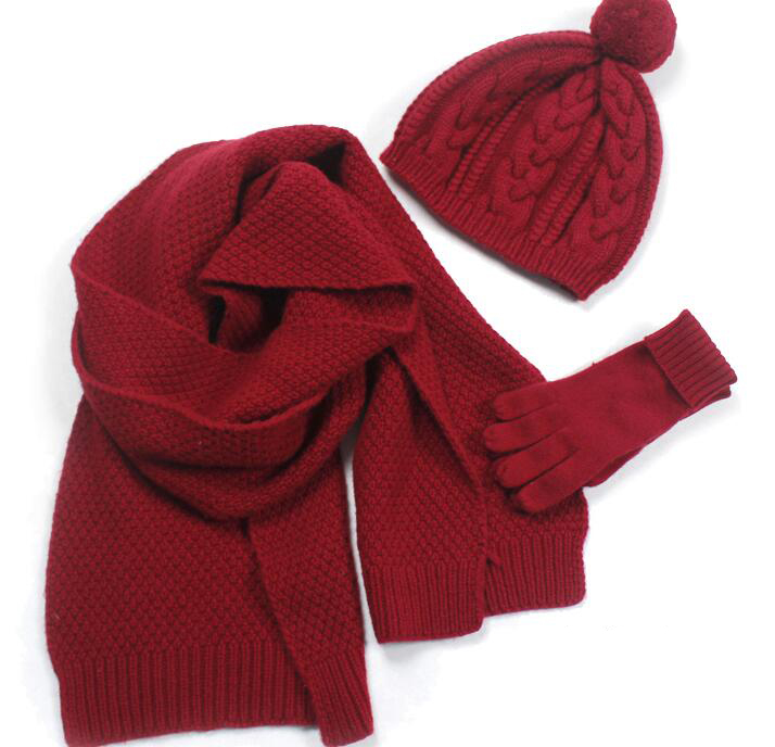 Hiver nouveau dames classique sauvage cachemire chapeau gants écharpe chaude trois pièces bourgogne