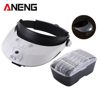 Headband Headset Hand Free Magnifying Head Jewellery 2 LED Light Magnifier Loupe Head Magnifying