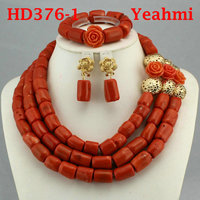 Genuine Coral Necklace Jewelry Set for Brides Nigerian Wedding African Coral Beads Jewelry Set Gold Dubai Party Beads HD376 2