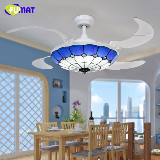 Fumat ceiling fans mediterranean style 42 inch led 32w tiffany light fumat ceiling fans mediterranean style 42 inch led 32w tiffany light with remote control living room aloadofball Choice Image
