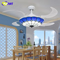Mediterranean Style 42 Inch LED 32W Tiffany Chandelier With Remote Control Living Room Bedroom Decoration Fan Droplight