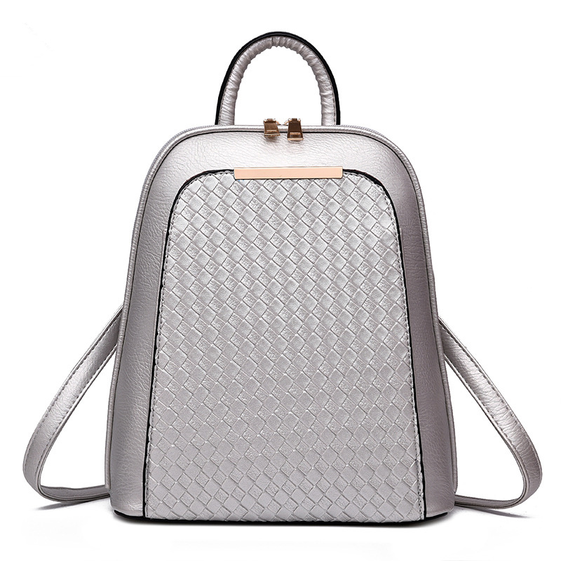 Fashion Silver Color PU Casual Women Backpacks High Quality Girl's Schoolbag Adjustable Straps Zipper 2017 high quaitily casual fashion 014