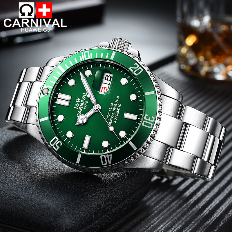 Carnival watches automatic mechanical watches stainless steel luminous calendar waterproof sports men watches